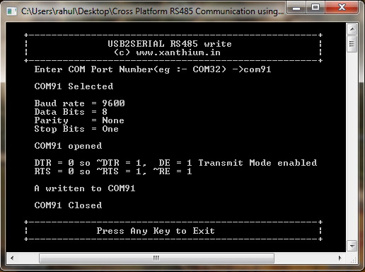 Cross platform RS485 communication between PC and Microcontroller using C sharp and Dot net framework