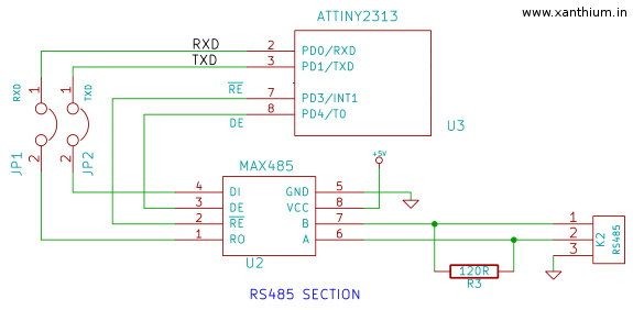 ATtiny2313a RS485 communication project
