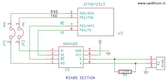 ATtiny2313a RS485 communication project