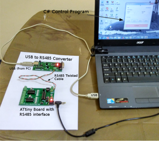 ATtiny C# RS485 communication program