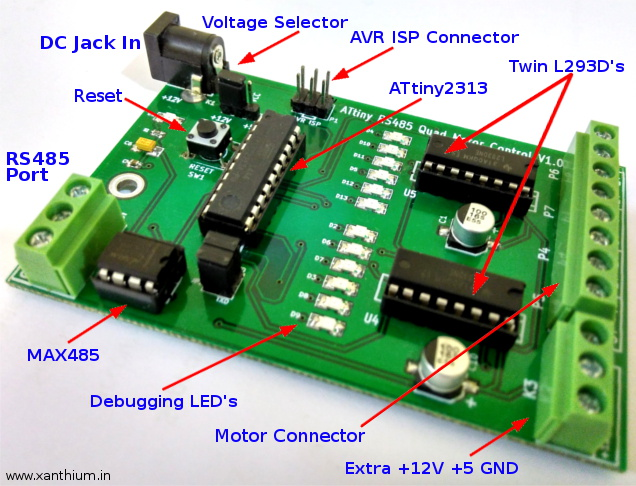 ATtiny based Stepper Motor control/RS485 communication development board