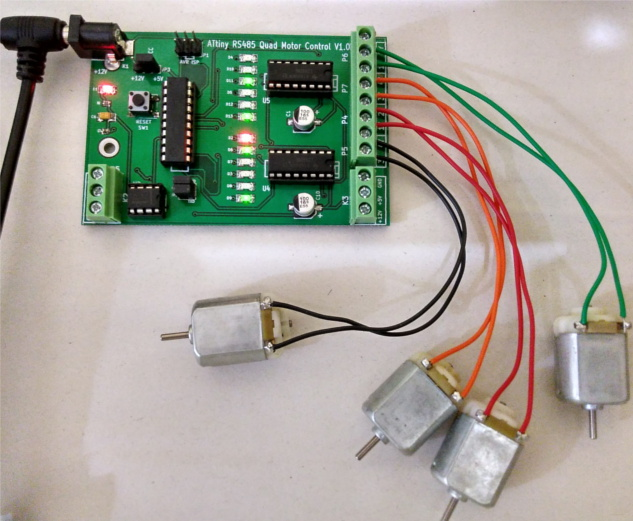 ATtiny2313 based motor control using L293D for building Robots using Attiny