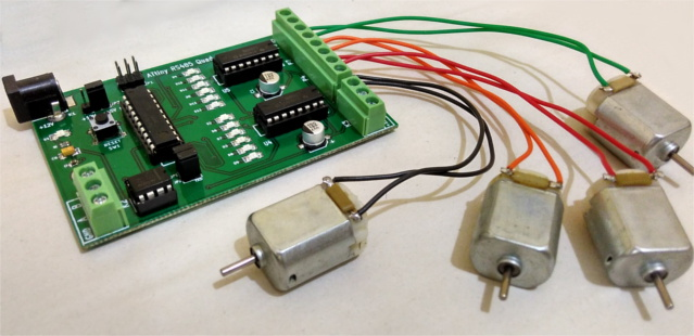 ATtiny development board based motor control using L293D