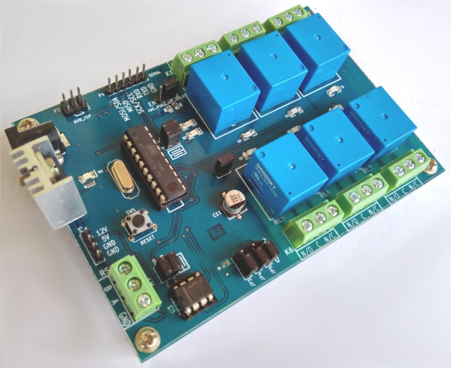 Serial/RS485/I2C/SPI Controlled 6 Channel Relay Control Board