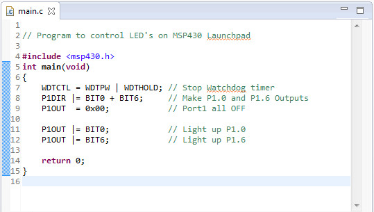 Getting started with MSP430 launchpad development using Code