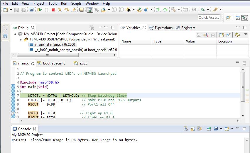 debug mode of code composer studio
