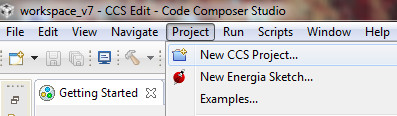 creating a C project in code composer studio for msp430 development