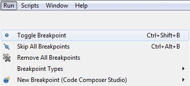 setting break points in code composer studio debug mode