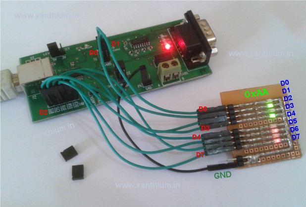 USB2SERIAL  board interfaced with LED's  in Asynchronous bit bang mode of FT232