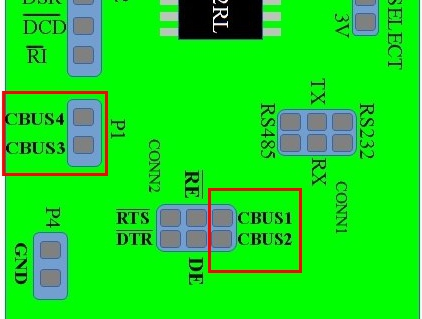FT232 usb to serial converter board highlighting CBUS pins