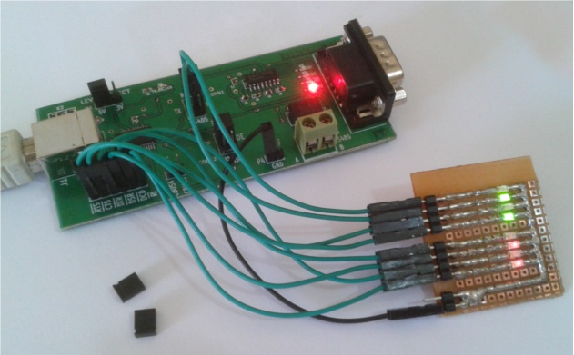 Photo showing FT232 chip development using D2XX library and USB2SERIAL board