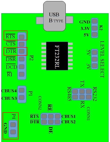 USB2SERIAL board showing DTR,RTS and Ground pins