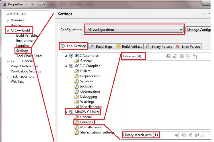 setting the linker options in eclipse cdt