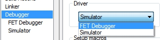 selecting between debugger or simulator on IAR embedded workbench for msp430