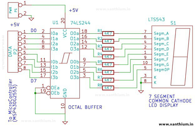 circuit diagram for interfacing msp430 launchpad with 7 segment LED display
