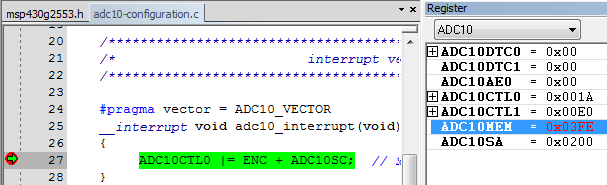 viewing the converted adc value inside the IAR embedded workbench for MSP430