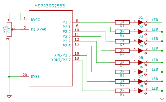 circuit diagram for implementing a bar graph type display for msp430 launchpad