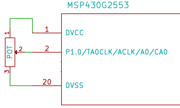 connecting a potentiometer (pot) to msp430 launchpad for adc interfacing
