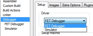 FET debugger selection for MSP430