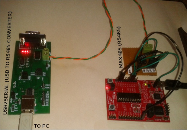 USB 2SERIAL -USB to RS485  converter interfaced with launchpad board