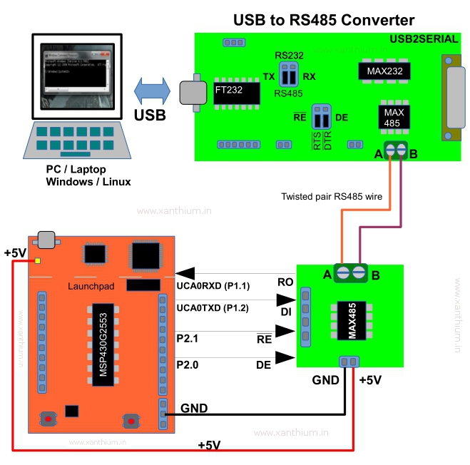 interfacing a msp430g2553 launchpad with PC through RS 485 protocol