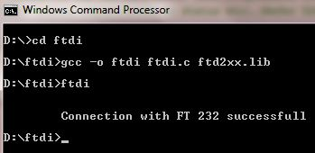 Opening a connection with FT232 using D2XX library and GCC