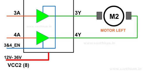 H bridge circuit using L293D for controlling DC brushed motor