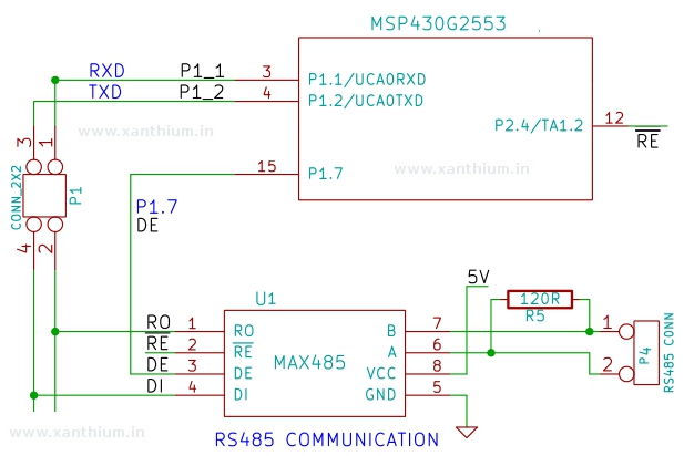 MAX485 interfaced with MSP430