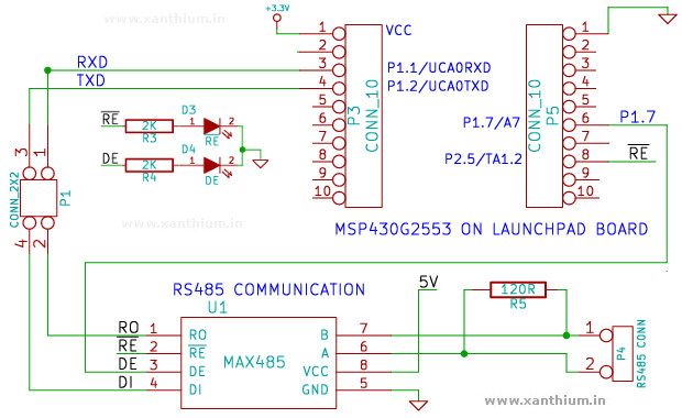 RS485 section of MSP430 RS485 communication Booster Pack for Launchpad