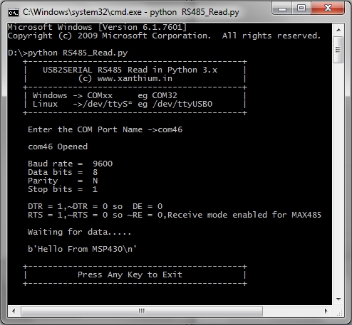 RS485 programming on Windows using Python and USB to RS485 converter