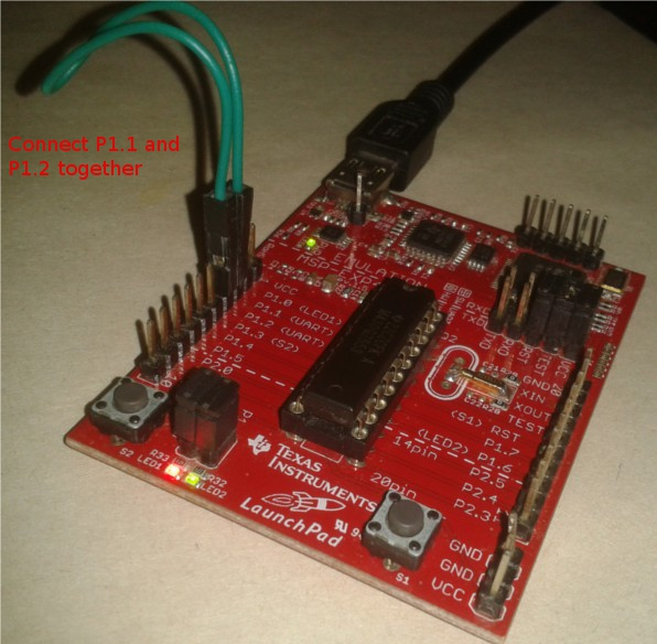 Image showing how to connect P1.1 and P1.2 pins of MSP430 uart on a launch pad board