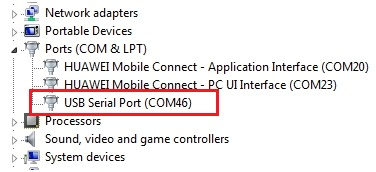 serial ports (COM) detected by your system