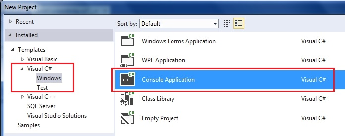 selecting a windows console project for serial communication on Microsoft Visual Studio Express