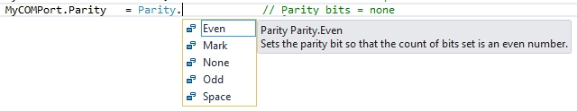 Intellisense showing parity options