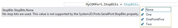 Intellisense showing stop bit options