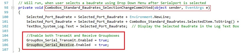 enabling Serial Port Transmit and Serial Port Receive Groupboxes in C#