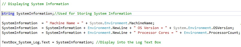 code for displaying os version,machine name,number of processor cores using C#