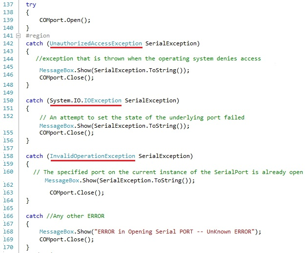 SerialPort Exception Handling in C# using dot net framework