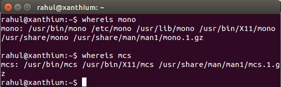 checking whether mono runtime and mcs is installed on Linux using whereis command