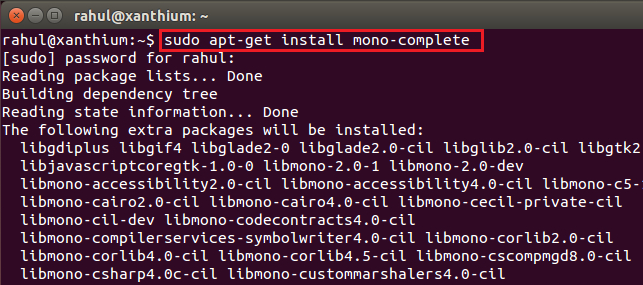 installing mono runtime on linux using command line