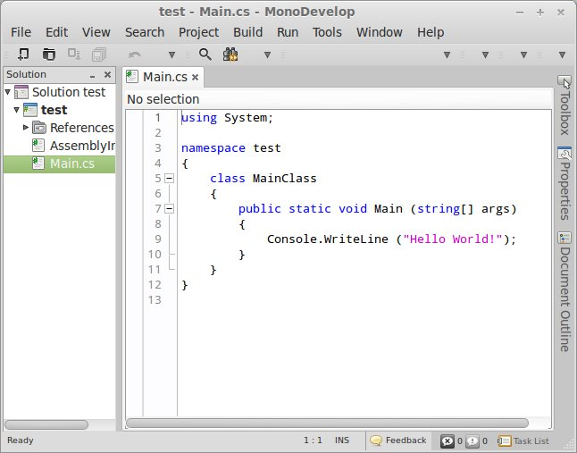 monodevelop IDE running on Linux Mint