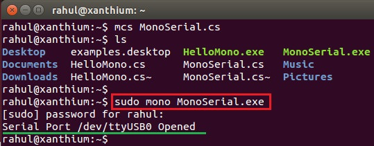 opening a serial port in Linux using Mono and C#
