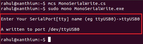 Writing a ascii character to serial port  using mono and C# on Linux Operating System