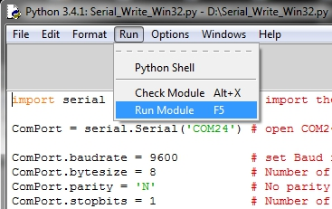 using IDLE to run python serial communication programs on windows