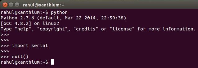 pyserial in ubuntu/linux python interpretor