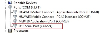 finding the COM port number in windows