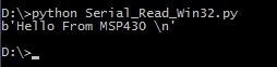 python script displaying the string received by PC serial port from MSP430