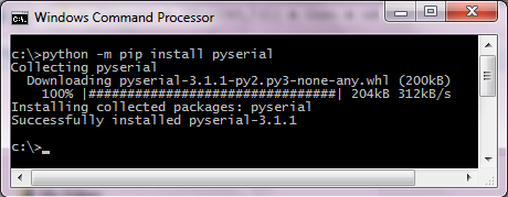 installing pyserial using pip on Windows 7