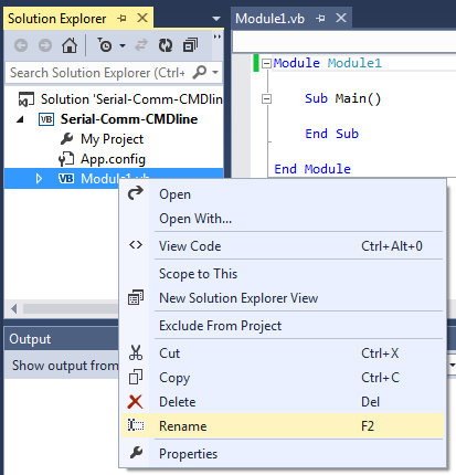 Renaming a Visual basic file in Visual Studio