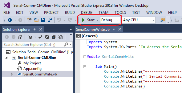 debugging your visual basic serial communication program using MS Visual Studio